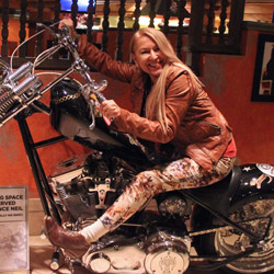 Elisabetta on Vince Neil's bike at LVH Hotel